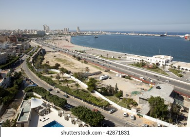 View of Tripoli Libya towards the medina, harbor and Martyr's Square, previously known as Green Square