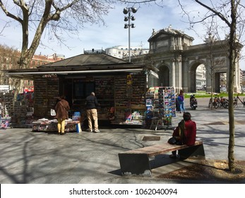 View of Triumphal Arch at Puerta de Alcalá on a sunny day, Madrid, Spain, Europe 1-4-2018