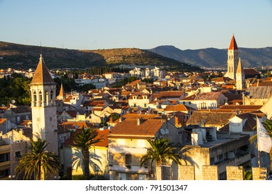 View of Trogir's old Town take from Kamerlengo Castle viewpoint, UNESCO heritage site, Croatia