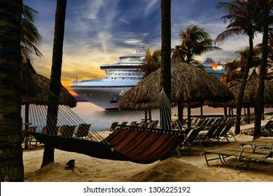 View from tropical beach on cruise ship sailing from port  on sunset