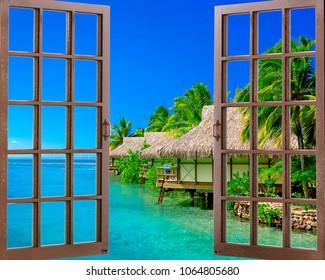 View of a tropical beach through a window