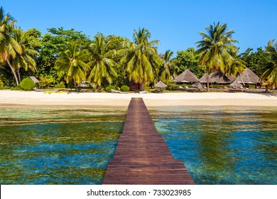 View of the tropical beach from  the wooden pontoon of Sainte-Marie island, East of Madagascar