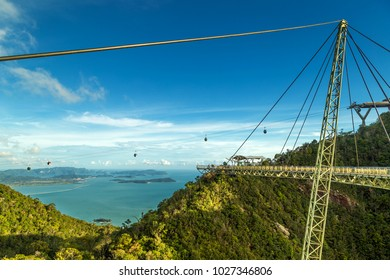 View of tropical island Langkawi in Malaysia, covered with tropical forests as seen from the sky bridge.