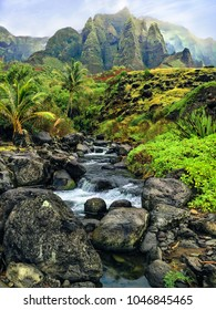 View of the tropical, mountainous, landscape from the mouth of a river on the Na Pali coast on Kauai, Hawaii.