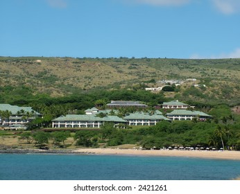View of tropical upscale resorts at Hulopoe Bay, ranked number one beach in the US in earlier years