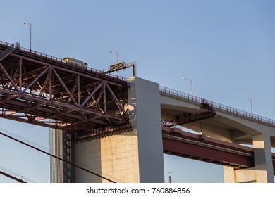 view of truck on bridge