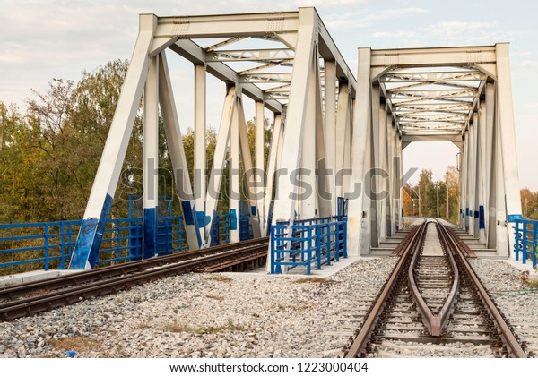 view at truss bridge railway, viaduct with track