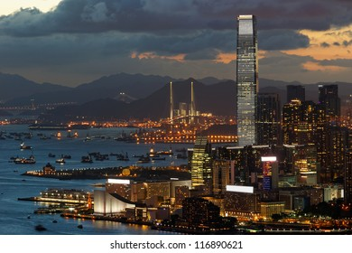 View of Tsim Sha Tsui in Hong Kong in a clear sunset evening.