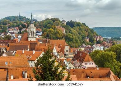 View of Tubingen from Hohentubingen Castle hill, Germany
