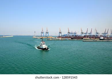 View of tugboat at Haifa port, Israel