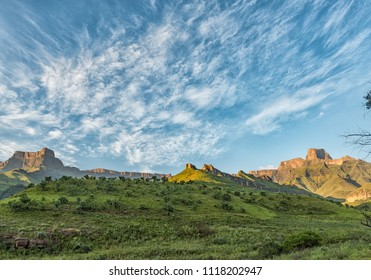 The view from the Tugela Gorge hiking trail in the Kwazulu-Natal Drakensberg of South Africa. The Amphitheatre and the Policemans Helmet are visible