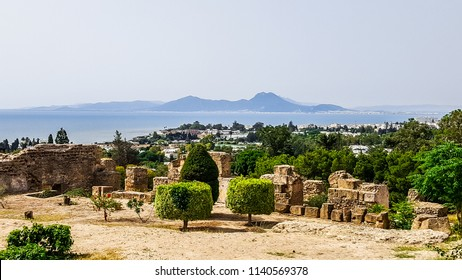 View of the Tunis from the ruins of Carthage. Tunisia