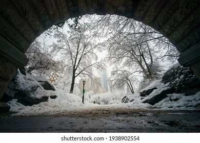 View from the Tunnel, Biggest Snowstorms (One Foot or More) at Central Park (1869 to Present) , Manhattan, New York, United States of America. 02.07.2021