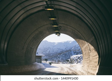 view from the tunnel of the  norwegian mountains.  Lofoten Islands. Norway.