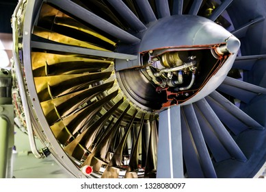 View of turbine aircraft engine close up, plane propeller, airplane industry