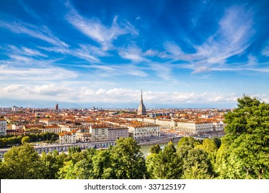View of Turin city center during summer day-Turin,Italy,Europe