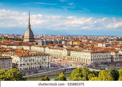 View of Turin city center with landmark of Mole Antonelliana-Turin,Italy,Europe