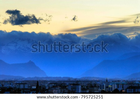 View Turin Torino Italy Sunset Looking Stock Photo (Edit Now ...