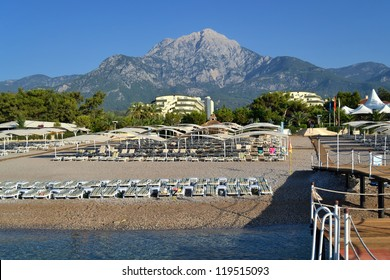 a view of a Turkey resort place  in Antalya with beach near a Mediterranean costline