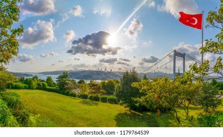 View of the Turkish Flag and the Fatih Sultan Mehmet Bridge photo, taken from Otagtepe, Beykoz in Istanbul, Turkey