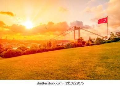 View of the Turkish Flag and the Fatih Sultan Mehmet Bridge photo, taken from Otagtepe, Beykoz in Istanbul, Turkey