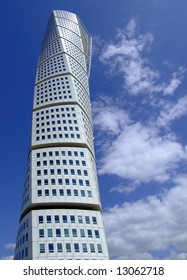 a view of the turning torso twisted tower block in malmo