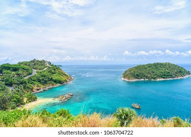 View of Turquoise Blue Sea and Lush Green Islands From Windmill Viewpoint in Phuket, Thailand