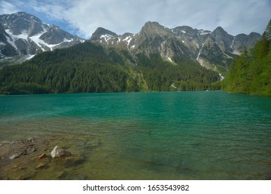 View of the turquoise waters of Lake Antholz in South Tyrol, Italy