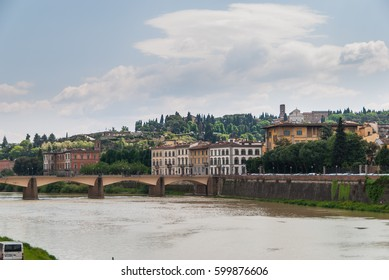 View of tuscan landscape of Florence across the river Arno