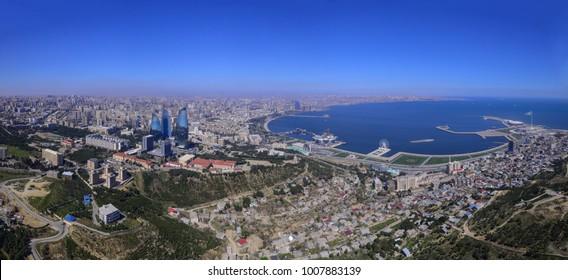 view from tv tower in Baku, Azerbaijan