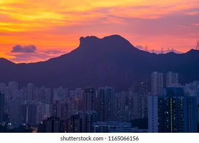 view twilight  lion rock  kowloon  hong  kong
