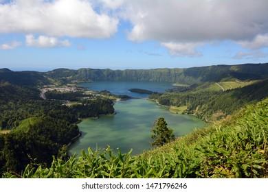 View of the Twin, Bi-colored Lakes of Lagoa das Sete Cidades from Miradouro da Vista do Rei on Sao Miguel, Azores