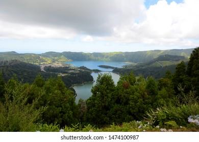View of the Twin, Bi-colored Lakes of Lagoa das Sete Cidades on Sao Miguel, Azores