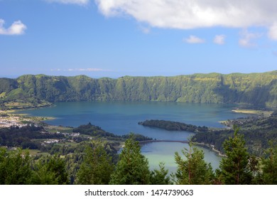View of the Twin, Bi-colored Lakes of Lagoa das Sete Cidades Above the Trees on Sao Miguel, Azores