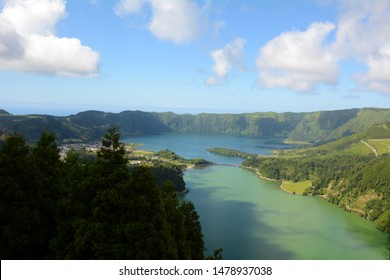 View of the Twin, Bi-colored Lakes of Lagoa das Sete Cidades Above the Trees from an Abandoned Hotel on Sao Miguel, Azores