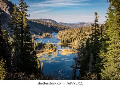 View from the Twin Lakes Overlook in Mammoth Lakes California in autumn, during the golden hour, in the Eastern Sierra Nevada mountains.