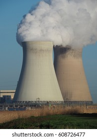 A view of the two cooling towers of the Doel nuclear power plant.