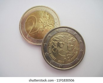 View of two euro coin. Belgium 2 euro 2011 - 1st Centenary of the International Women's Day. Great for numismatic collection.