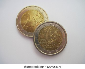 View of two euro coin. Italian coin with symbol of Torino. Great for numismatic collection. Italy 2 euros 2006 - Turin 2006.
