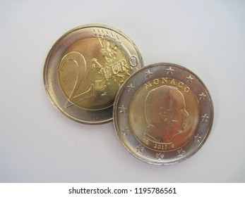 View of two euro coin from Monaco.  Great for numismatic collection.  Monaco 2 euro.