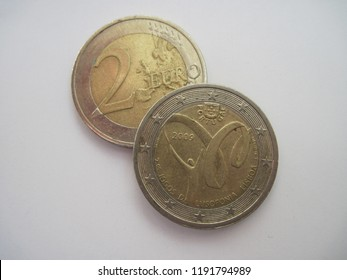 View of two euro coin. Portugal coin with symbol of Lusofonia Games of 2009 in Lisbon. Great for numismatic collection.