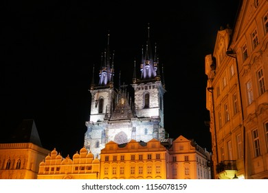 View of the Tyn Church from the Old Town Square at night, Prague, Czech Republic - Shutterstock ID 1156078159