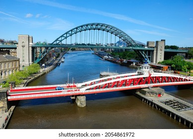 The view of Tyne Bridge and Swing Bridge over the River Tyne, England, connecting Newcastle upon Tyne and Gateshead, England, UK