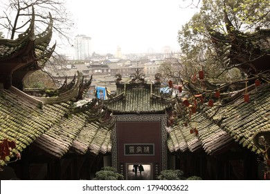 """View of Typical Ancient building exterior in Dujiangyan city, Sichuan, China. Translation on wall text """"Lingguan building""""."""