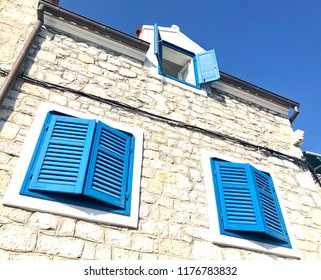 View of a typical apartment house in Vodice near Sibenik in South Croatia