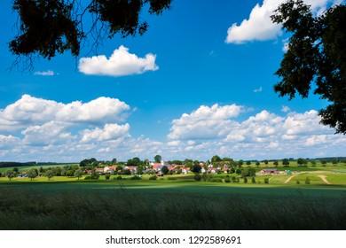 View to typical Bavarian village Unterlappach near munich on a sunny day