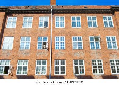 View of typical Copenhagen apartment building. Denmark