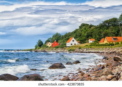 View of a typical danish houses on Bornholm, near Hasle and Jons Kappel. Denmark