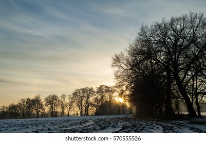 View of a typical landscape near Munich in Bavaria in the wintertime during sunset