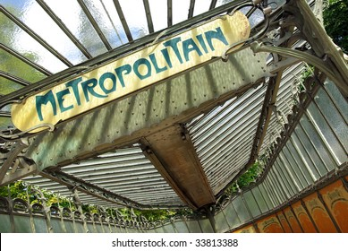 View of a typical metropolitain sign board in Paris.